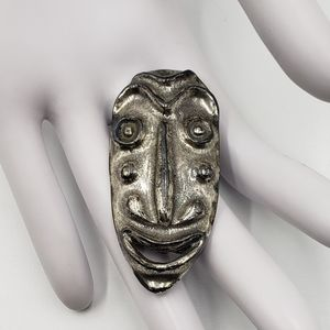 Vtg Funky Mask Face Brooch Pin Silver Tone MCM